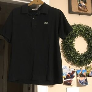 Black Lacoste Collared Tee